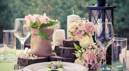 40147823 - wedding table setting in rustic style.